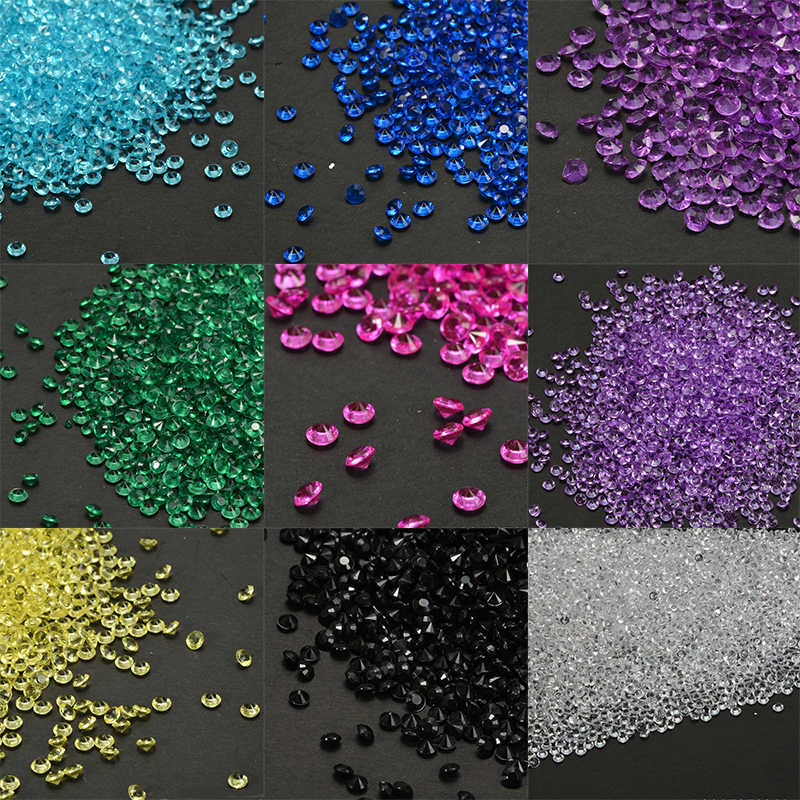 1000PCS 4.5mm Decor Crafts Diamond Colorful Table Scatters Clear Crystals Events Party Wedding Decor
