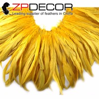 ZPDECOR Trading Manufacturer 10yards/lot 12 14in Yellow Rooster Coque Tail Plume Feather Strung for Costume Decoration
