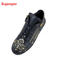 Stylish European Lover Round Toe Leather Men Casual Shoes Lace Up Men Flats Luxury Brand High Top Shoes Side Zip Crystal Design