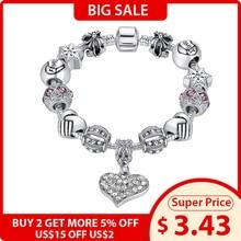 ELESHE Luxury Brand Women Bracelet 925 Unique Silver Crystal Charm Bracelet for Women DIY Beads Bracelets