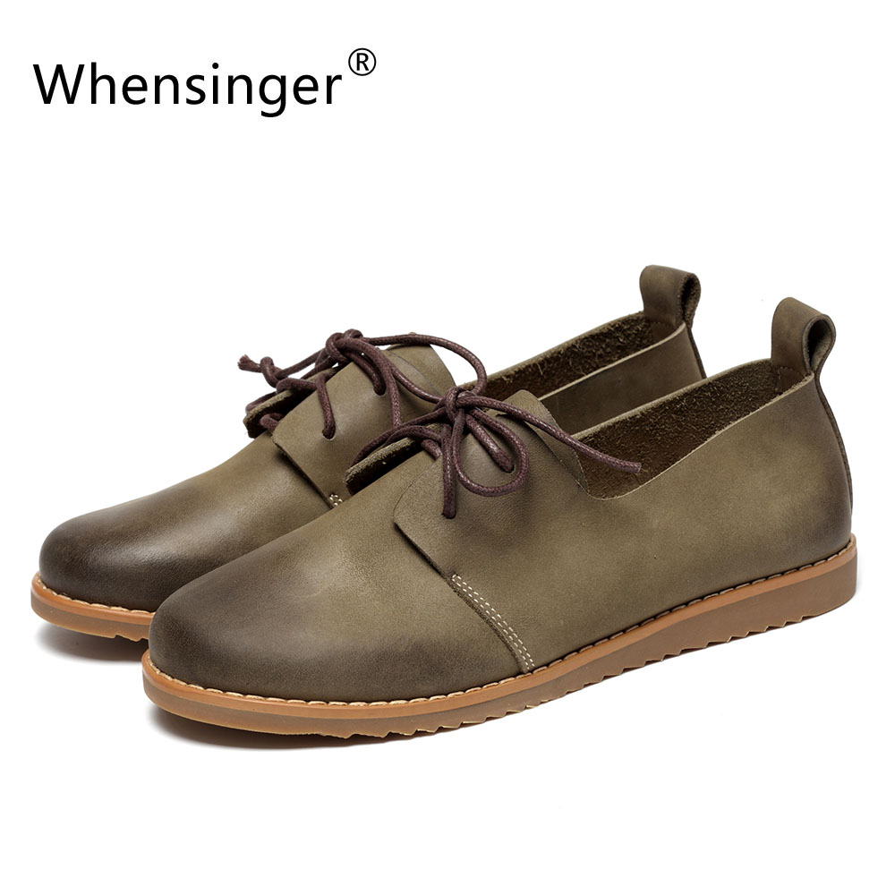 Whensinger -  2017 Autumn Women Flats Full Grain Leather Shoes Rubber Outsole 2 Colors Lace-Up Round Toe 5879-1 2016 autumn fashion women full grain leather flat heel white shoes student bling round toe leather brand basic flats loafers