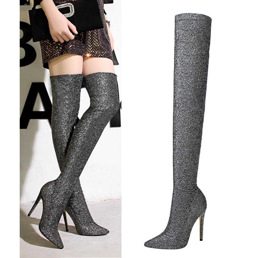 4f0399d2da166 EOEODOIT пикантные модные длинные сапоги-чулки блестками для женщин 2019  Весенняя Новинка Высокий каблук шпильки