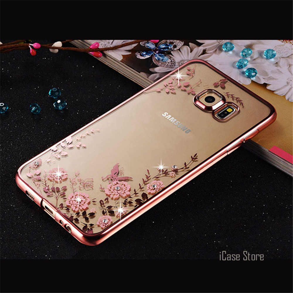 New Rhinestones Soft TPU Plating Cases For Samsung Galaxy A3 A5 A7 2016 Grand Prime J7 J5 J3 S7 S6 Edge S6 S5 S4 S3 Case