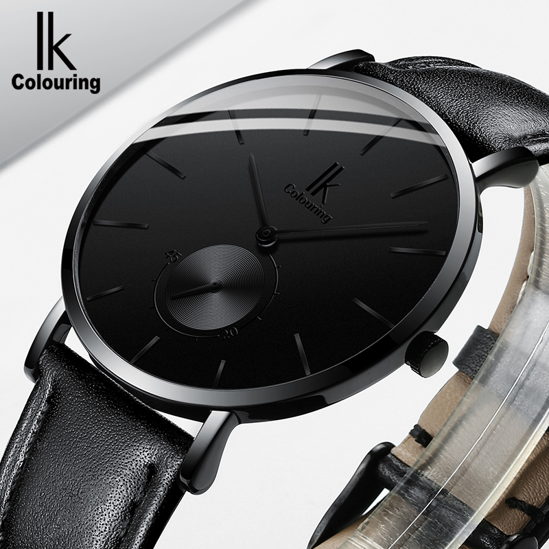 Minimalist simple ik Luxury Brand Watches men 2018 Quartz wristwatch genuine Leather clock relogio Masculino цена и фото