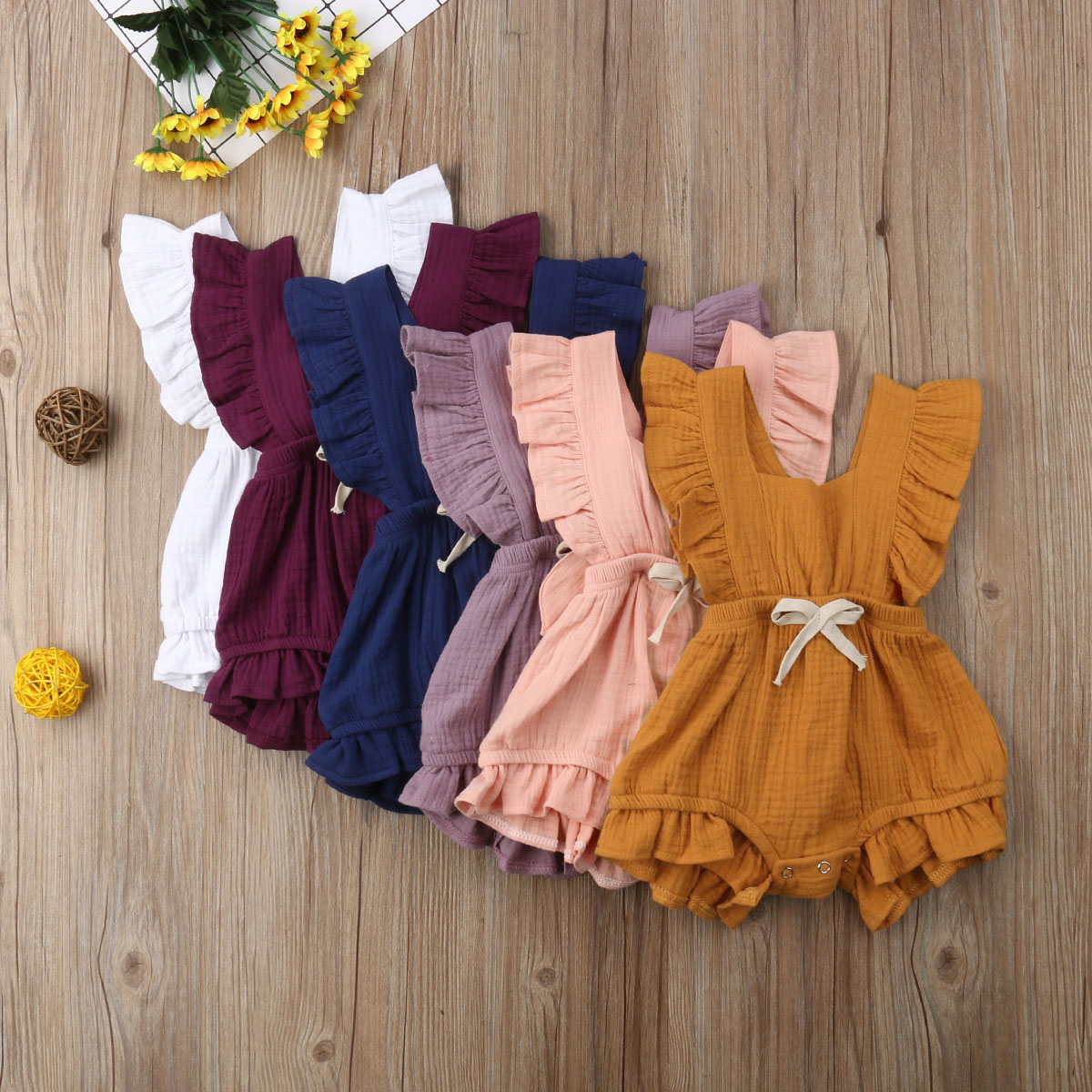 Newborn Baby Girl Summer Ruffle Cotton Romper Jumpsuit Outfits Clothes Sunsuit 0-24M Solid Color Outfits