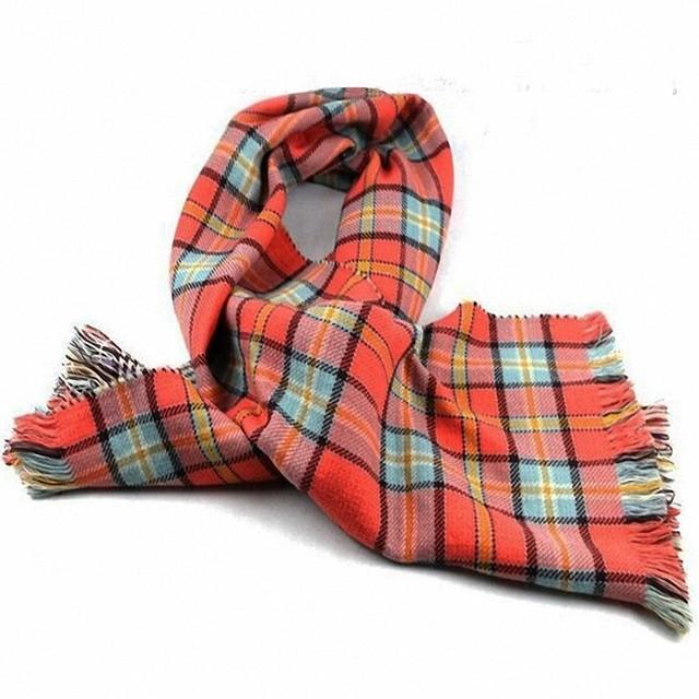 Orange Plaid Reversible Scarf   Blanket Scarves