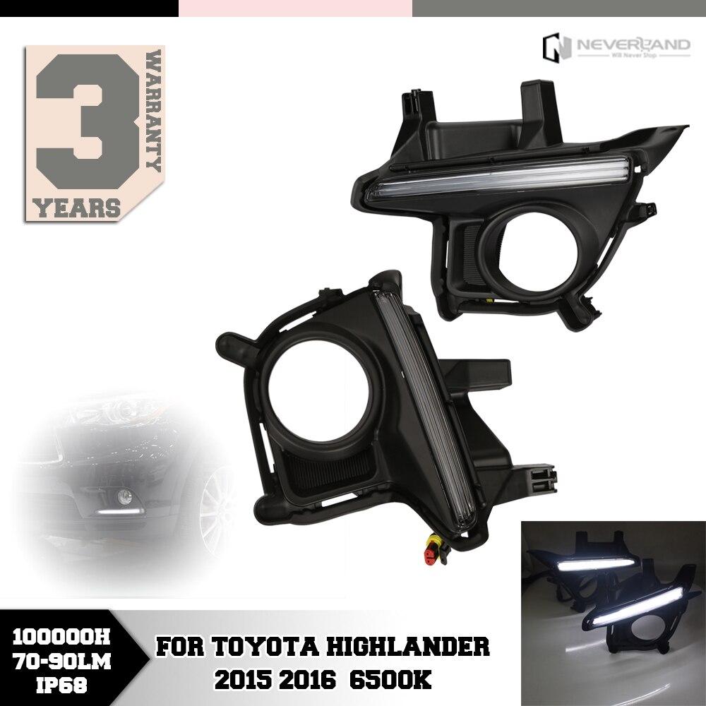 ФОТО For Toyota Highlander 2015 2016 Auto LED Daytime Running Lights DRL Fog Lamp Car Styling Wholesale D10
