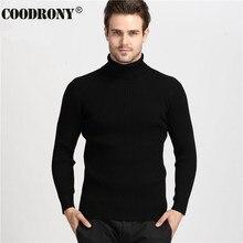 COODRONY Grossas de Inverno Quente 100% Homens Suéter de Cashmere de Gola Alta Marca Mens Camisolas Slim Fit Homens Pullover Malhas gola Dupla