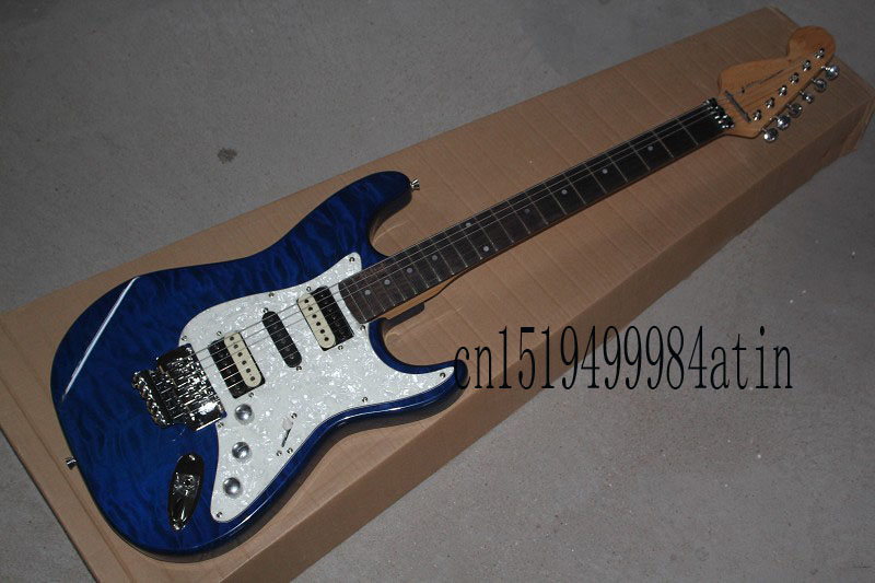 Free shipping Top quality stratocaster custom body Floyd rose tremolo electric guitar White pickguard electric guitar @18 high quality blue finish mahogany body lp custom electric guitar with china floyd rose tremolo for sale