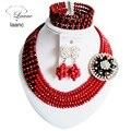 Laanc Классический Черный и Матовый Красный африканские бусы ювелирные наборы колье для женщин кристалл C2626