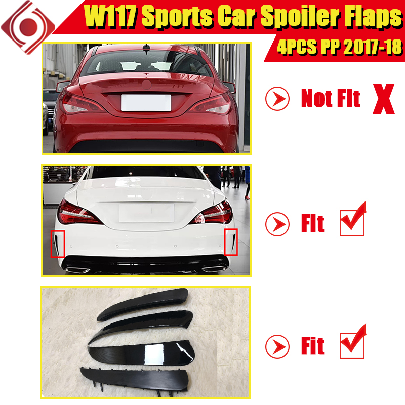 CLA W117 Rear Bumper Spoiler Flics Splitters Fins Flaps PP 4pcs Fits For MercedesMB CLA180 CLA200 250 CLA45AMG style 2017 2018 in Bumpers from Automobiles Motorcycles
