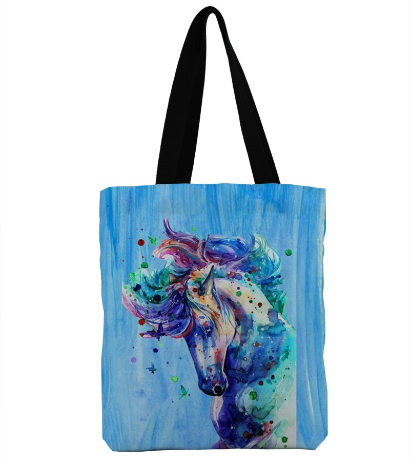 3D Print Unicorn Design Beach Single Shoulder Shopping Bag Canvas Tote Handbag Big