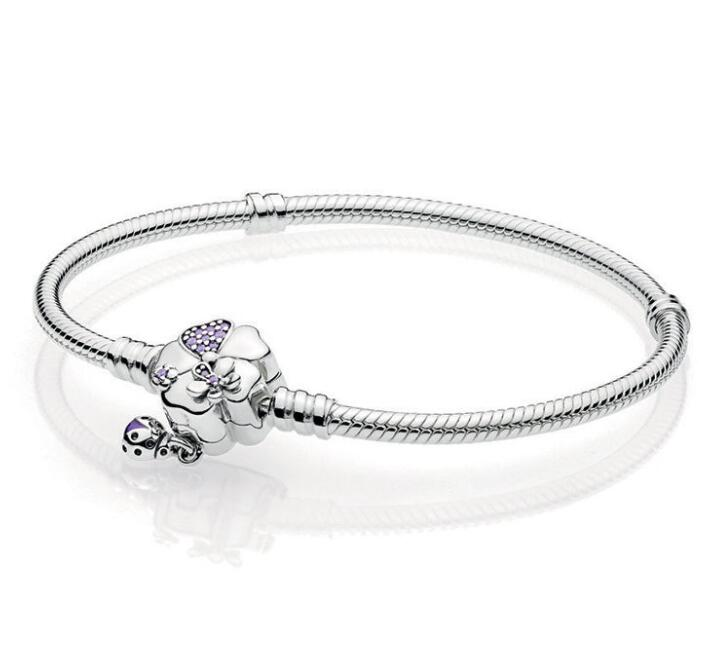 Luxury 100% 925 Sterling Silver Wildflower Meadow Clasp Charm Chain Fit Original Pandora Bracelet For Women Authentic Jewelry ...