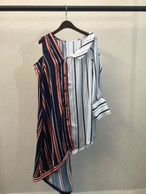 2017 spring and summer new women fight color strapless striped shirt