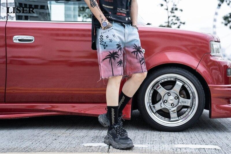 Liser Shorts Men 2019 Summer Beach Coconut Print Hole Denim Shorts Streetwear Casual Short Pants
