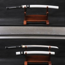 Collectible Art Handmade Japanese Samurai Wakizashi Damascus Folded Steel Knife Full Tang Practical Sword Traditional Handcraft