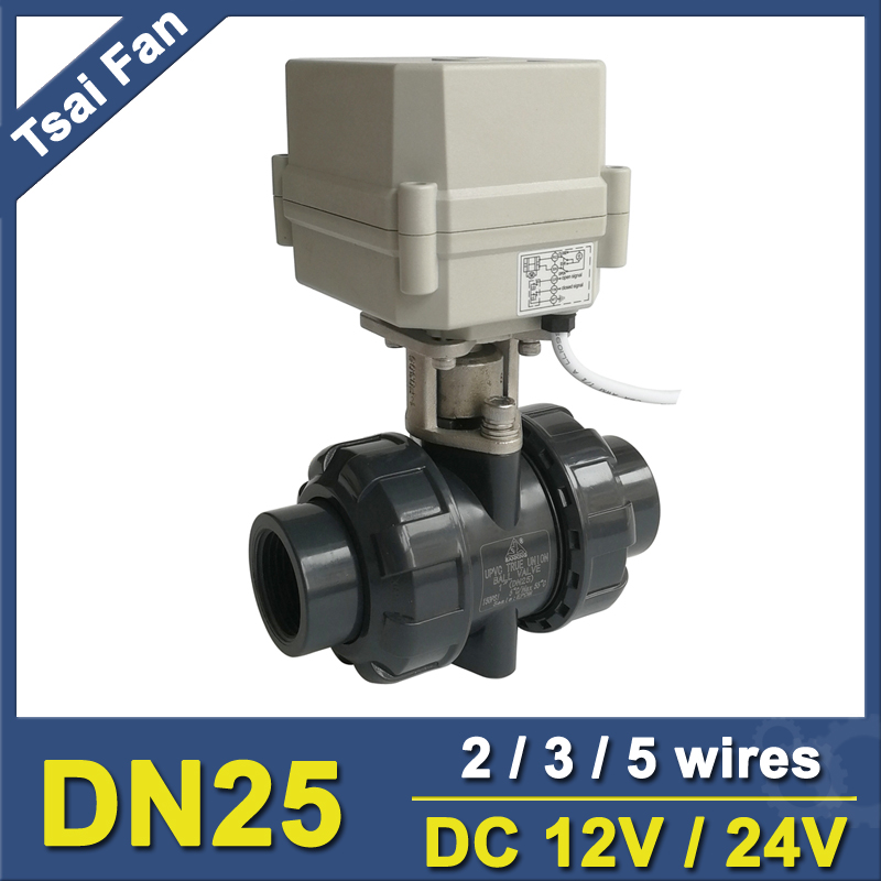 BSP/NPT 1'' PVC DN25 Water Electric Valve TF25-P2-C DC12V/24V 2/3/5 Wires 10NM On/Off 15 Sec Metal Gear For Water Control bsp npt 1 pvc dn25 electric shut off valve tf25 p2 c dc12v cr303 wiring 10nm on off 15 sec metal gear for water control