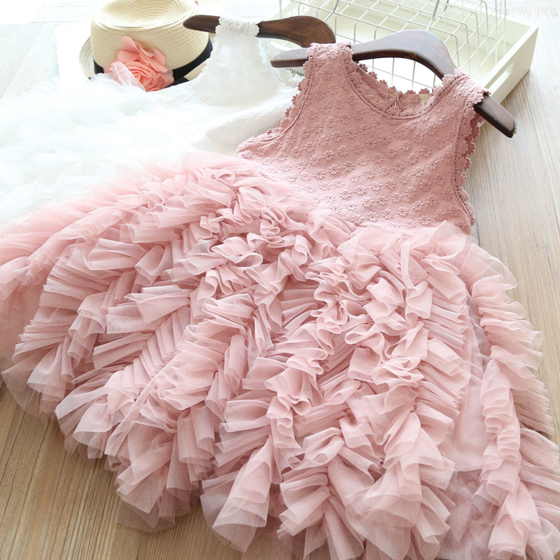 Girls Pink Princess Dress Summer Cute Embroidery Clothing Children Lace Tutu Dress Graduation Gowns Vestidos Infantil Menina in Dresses from Mother Kids