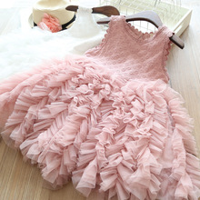цена на Girls Pink Princess Dress Summer Cute Embroidery Clothing Children Lace Tutu Dress Graduation Gowns Vestidos Infantil Menina