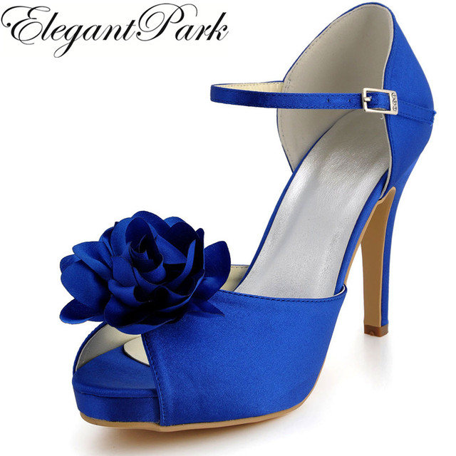 Summer Woman Sandals EP2067 IP Blue Red High Heel Platform Flower Shoes  Satin Wedding Shoes