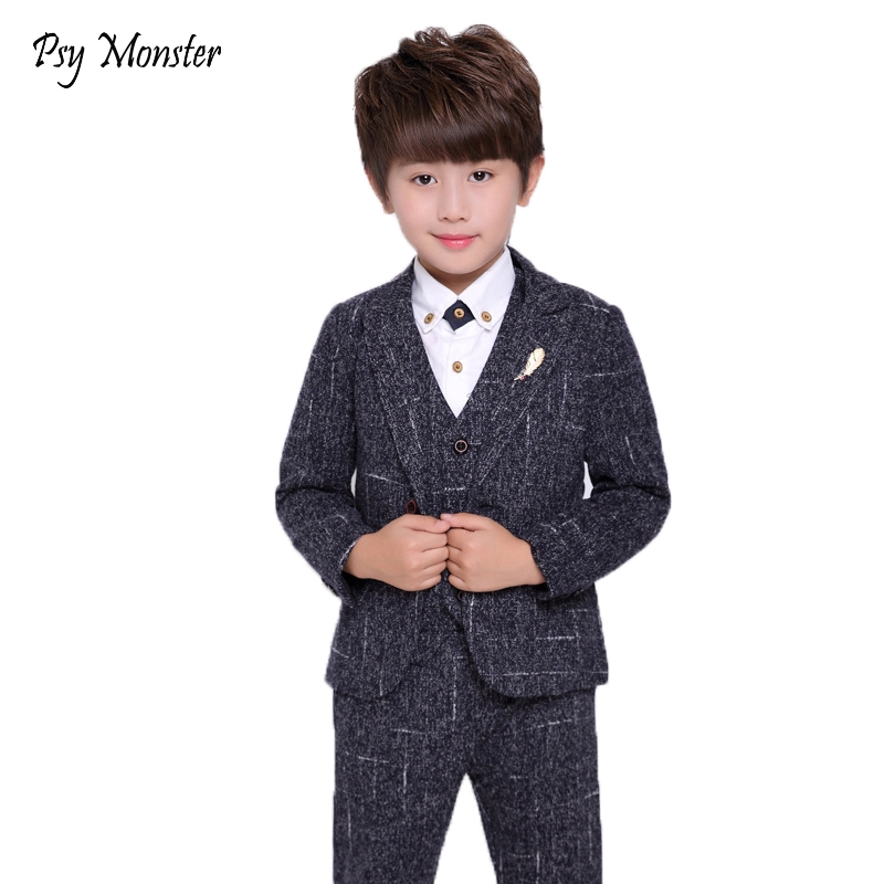 2018 Kids Wedding Blazer Suit 3PCS Jacket+Vest+Pants Flower Boys Formal Tuxedos School Singer Suit Kids Spring Clothing Set N572018 Kids Wedding Blazer Suit 3PCS Jacket+Vest+Pants Flower Boys Formal Tuxedos School Singer Suit Kids Spring Clothing Set N57