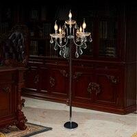 Хромированная светодиодная Напольная Лампа серебристого цвета E14 подсвечники свадебные подсвечники для ресторана хрустальные подсвечник...