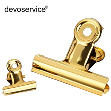 купить 1PC High Quality Gold Metal Binder Clips Notes Letter Paper Clip 30mm 80mm Office Learning Supplies School File Paper Organizer дешево