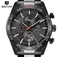 Luxury Brand BENYAR Waterproof Men S Watches Full Steel Quartz Analog Army Military Sport Watch Men