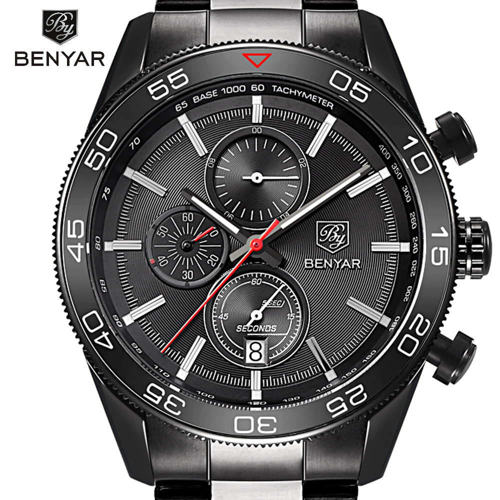 Luxury Brand BENYAR Waterproof Men's Watches Full Steel Quartz Analog Army Military Sport Watch Men Clock Male Relogio Masculino weide new men quartz casual watch army military sports watch waterproof back light men watches alarm clock multiple time zone