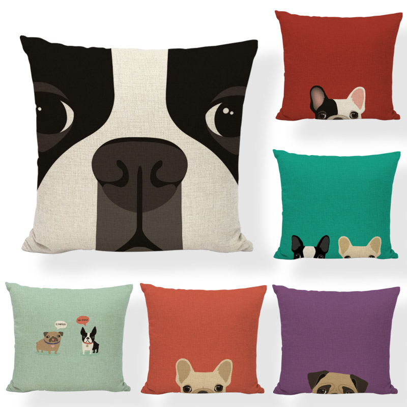 Creative Personality 45x45cm Cushion Cover French Bulldog Red Home Sofa Living Room Holiday Gift Decoration Pillow Case