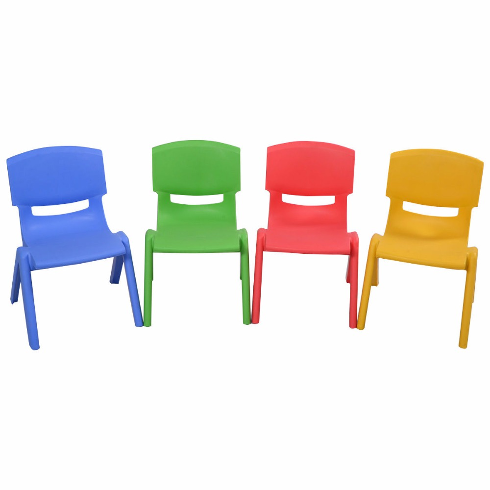 Set of 4 Kids Plastic Chairs Stackable Play and Learn