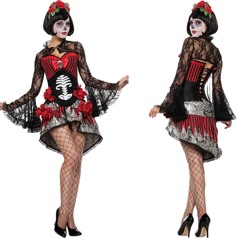 Day of the Dead Corpse Bride Costume Womens Ladies Halloween Fancy Dress Outfit
