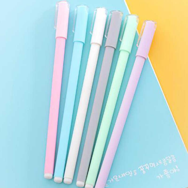 Nette Gel Pen Frosted Kunststoff Kawaii Stifte 0,5mm Schöne Macaron Farbe Stifte Für Kinder Mädchen Geschenk Schule Writting Koreanische schreibwaren
