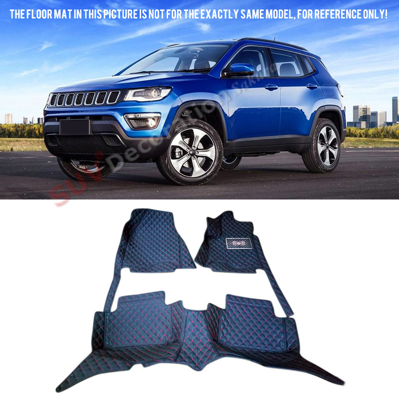 New for Jeep Compass Second Generation 2017 2018 Accessories Interior Leather Carpets Car Pad Floor Mats Car Foot Mat auto floor mats for honda cr v crv 2007 2011 foot carpets step mat high quality brand new embroidery leather mats