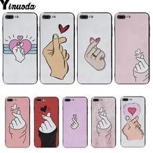Yinuoda Finger Heart black Soft shell Phone Case For iphone 6 6s 6plus 6S plus 7 7plus 8 8plus 5 5S SE XS 10S X X10max xsmax чехол накладка для iphone 5 5s 6 6s 6plus 6s plus змеиный дизайн