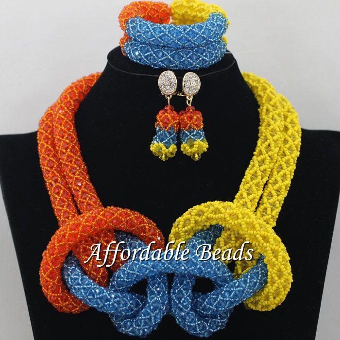 Nigerian Bridal Jewelry Set Hot Wedding Beads Set Handmade Item Wholesale Free Shipping NCD024Nigerian Bridal Jewelry Set Hot Wedding Beads Set Handmade Item Wholesale Free Shipping NCD024
