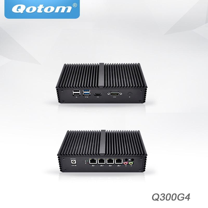 Qotom Мини ПК Core i3 i5 i7 сервер 4 Intel NIC AES-NI linux Ubuntu pfsense шлюз брандмауэр маршрутизатор x86 безвентиляторный мини компьютер