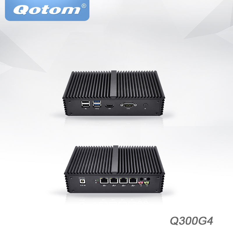 цена на Qotom Mini PC Core i3 i5 i7 Server 4 Intel Nics AES-NI linux Ubuntu pfsense gateway Firewall router x86 Fanless Mini Computer