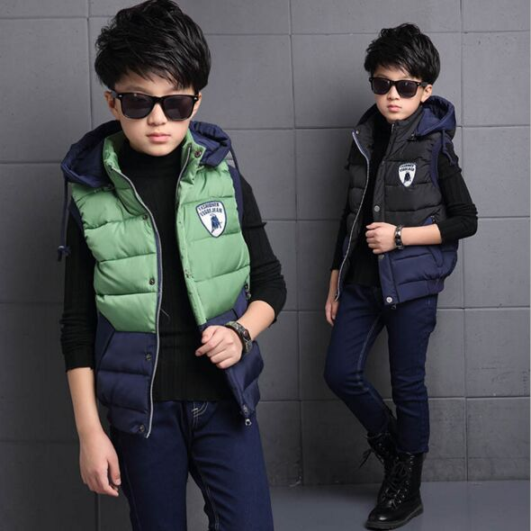 ФОТО New Fashion Hooded Active Kids Boys Clothes Down Winter Vest Waistcoat All-match Coat High Quality Cotton Inside