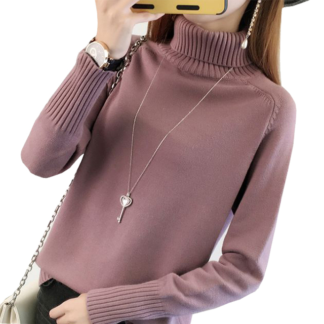 Grueso cuello turtleneck suéter mujeres 2017 Otoño Invierno tricot Jumper  mujeres Suéteres y Jerséis hembra Tops f71d0ba04565