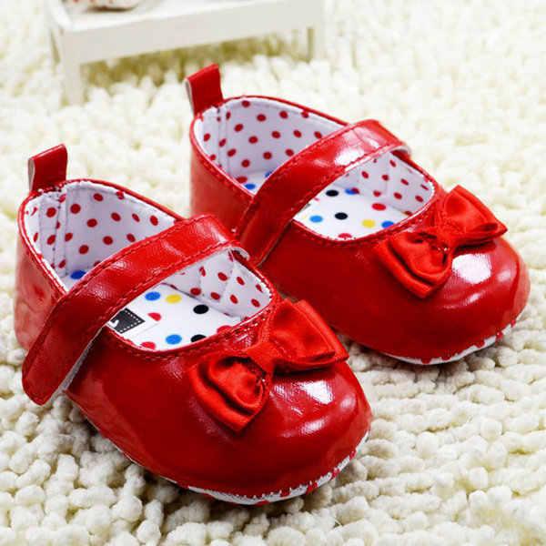 Bebé niñas infantes princesa Bowknot PU cuero suave suela cuna vestido zapatos 0-18M SHM