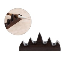 Retro Chinese Calligraphy Pen Holder Vintage Wooden Brush Rest Stand Pen Rack Elegant Figurines Miniatures