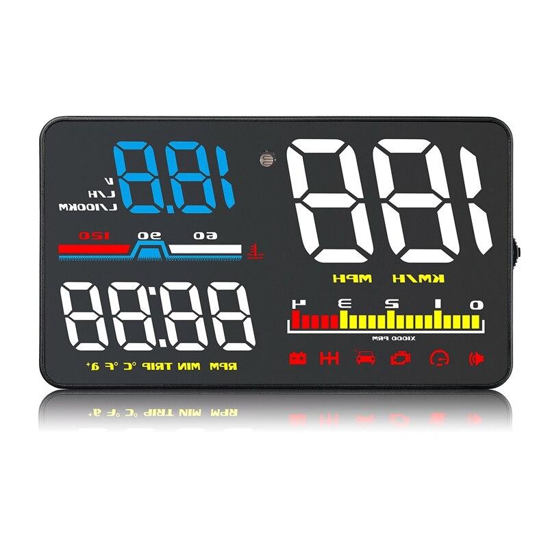 5 pouces voiture Hud affichage tête haute Obd2 Eml327 tableau de bord compteur de vitesse projecteur avertissement de vitesse D5000