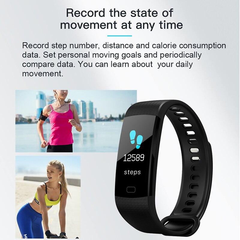Image 4 - Смарт браслет Y5 монитор кровяного давления сердечного ритма высокое фитнес трекер цветной экран умный браслет для мужчин android-in Смарт-браслеты from Бытовая электроника