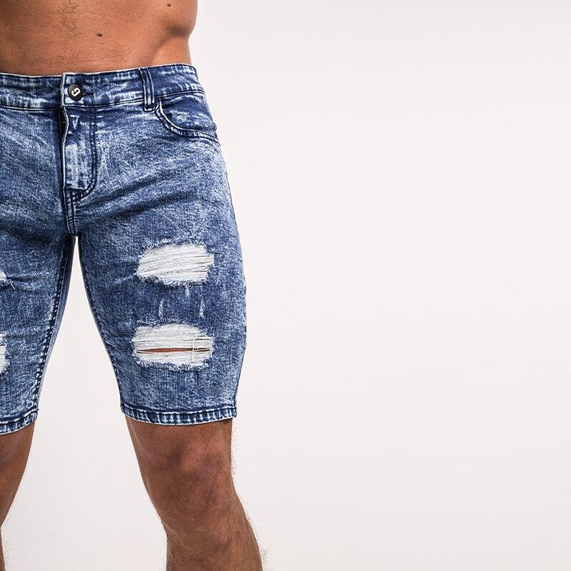 21ae8cf67660 Gingtto Herren Denim Shorts Ripped Shorts Herren Blau Distressed ...