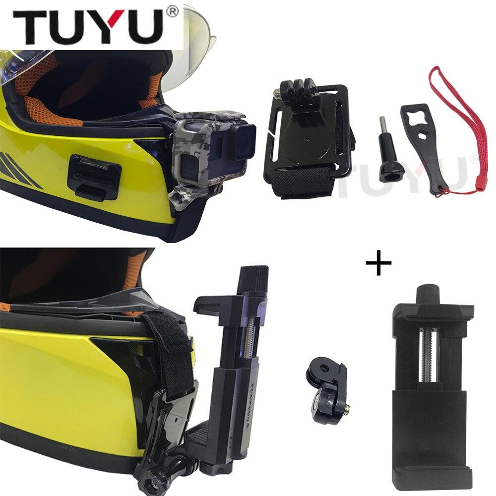 TUYU Moto Casque Intégral Chin Mont pour GoPro Hero 6 5 SJCAM sj4000 Yi EKEN H9 Casque Support Vélo réglable Boucle