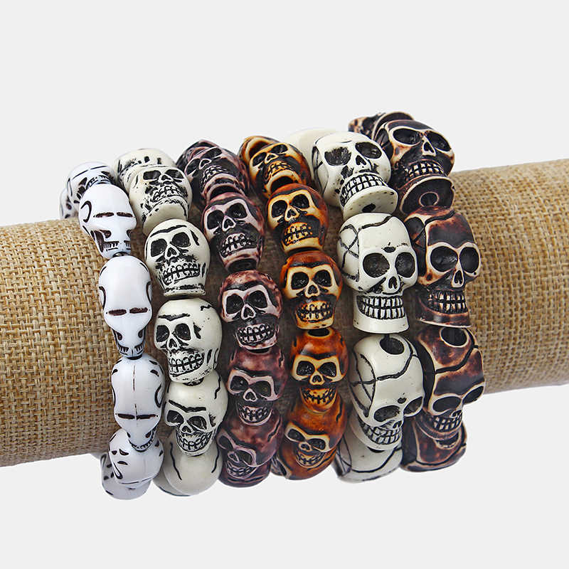 1pcs White/Brown Resin Skeleton Skull Heads Elastic Wristband Bracelet Bangle Fit Men and Women Fashion Jewellery