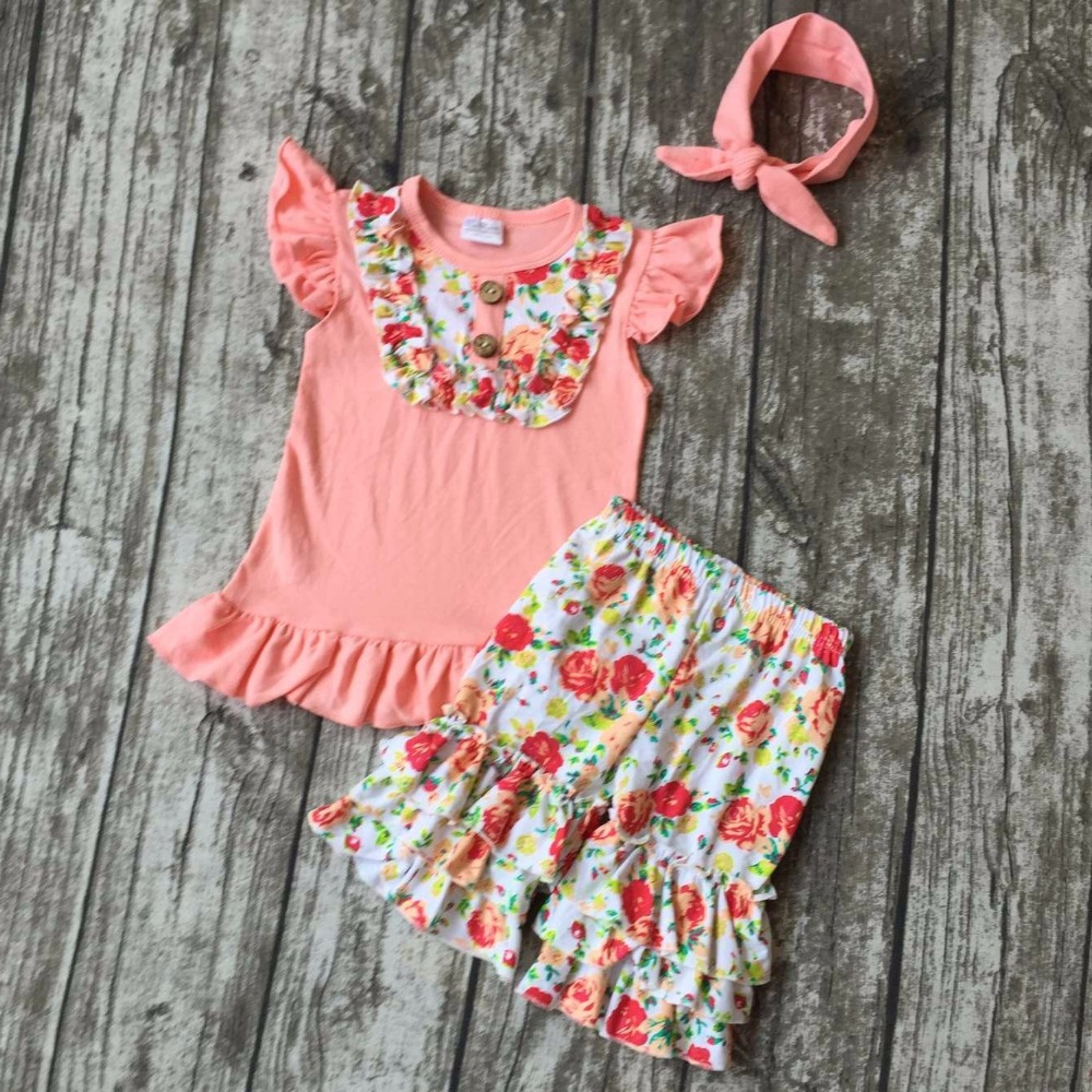 new summer girls boutique clothes coral floral striped shorts cotton ruffles outfits  with matching accessories headband sets 2016 summer baby child girls outfits ruffles shorts white striped watermelon boutique ruffles clothes kids matching headband set