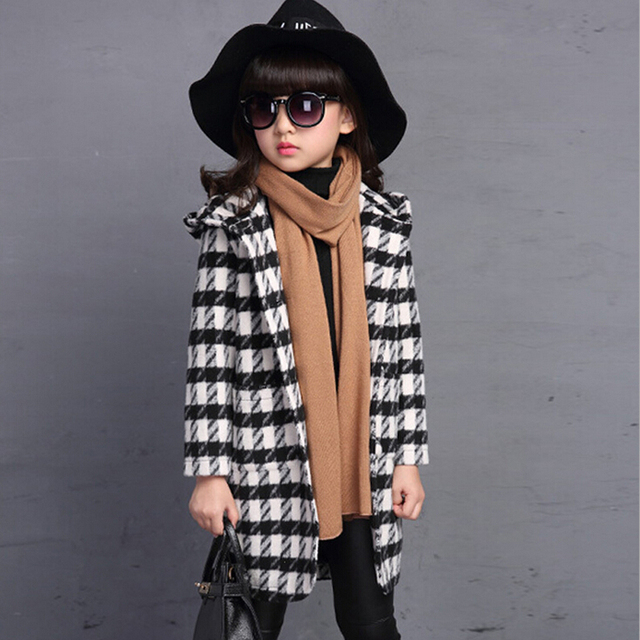 Girls woolen cloth coat new baby children's windbreaker long fashion girl autumn han edition cloth grid coat for kids outerwear