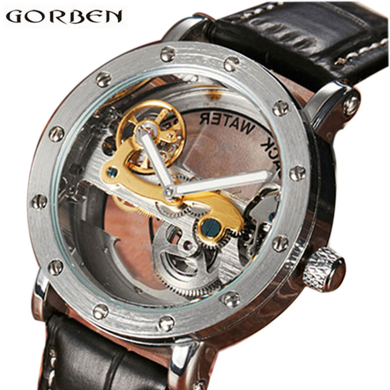 Skeleton Men Automatic Watches Mens Leather Transparent Mechanical Wrist Watch Luxury Brand Sports Male Clock With Box 2018 mce sports mens watches top brand luxury genuine leather automatic mechanical men watch classic male clocks high quality watch